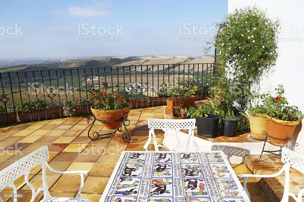 Astonishing panorama in Arcos de la Frontera, Spain stock photo