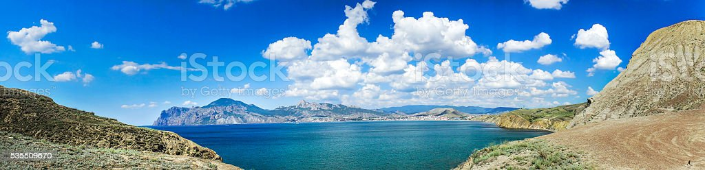 Astonishing  summerly view  of crimean landscape. stock photo