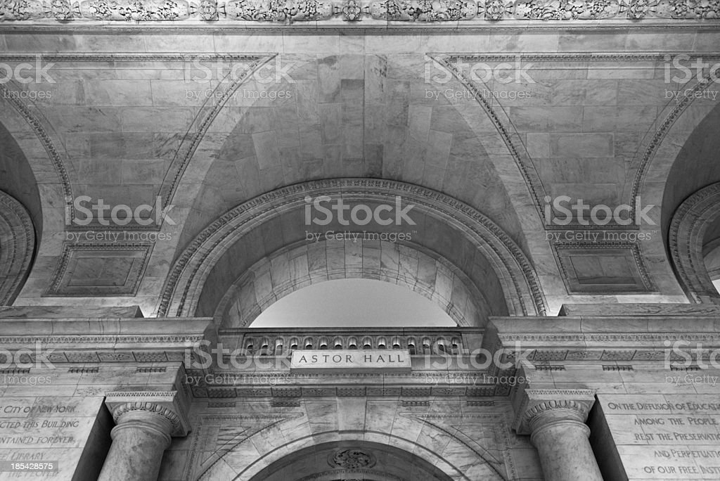 Astor Hall inside the New York Public Library stock photo