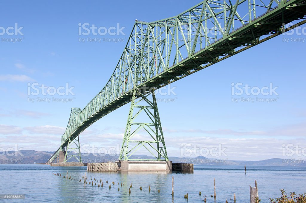 Astoria Bridge in Oregon stock photo
