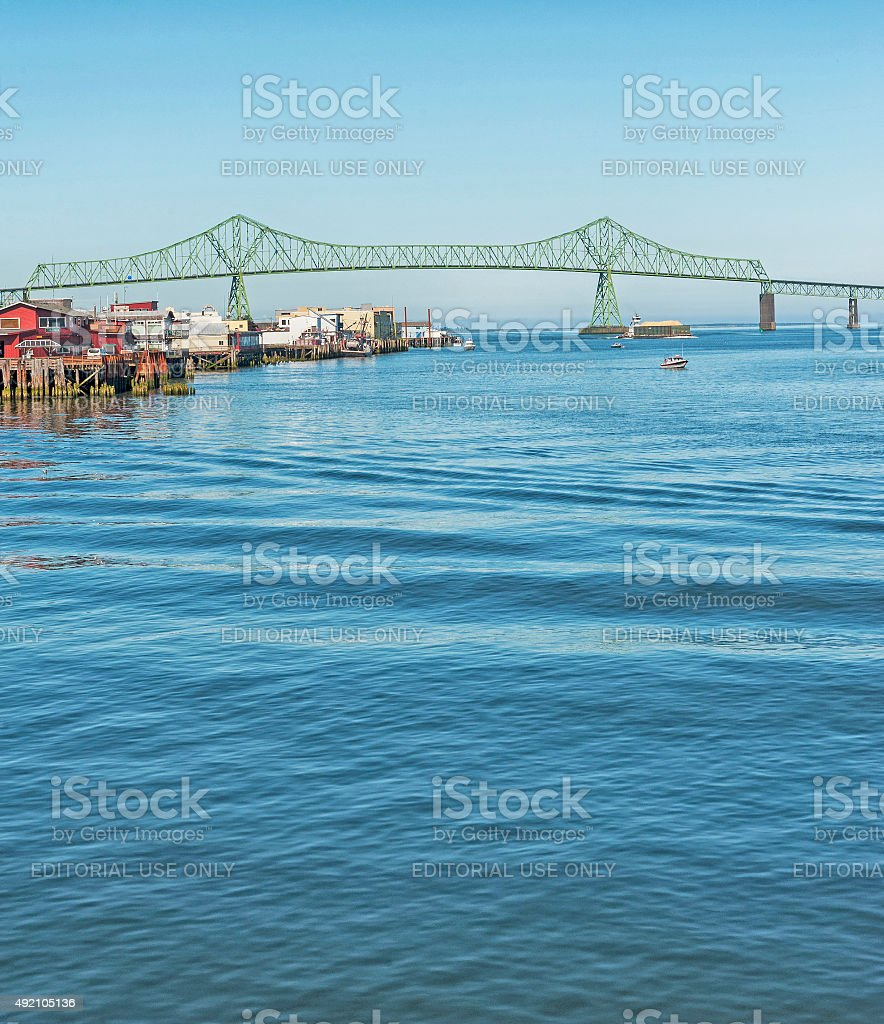 Astoria Bridge over columbia River and Shoreline Views stock photo