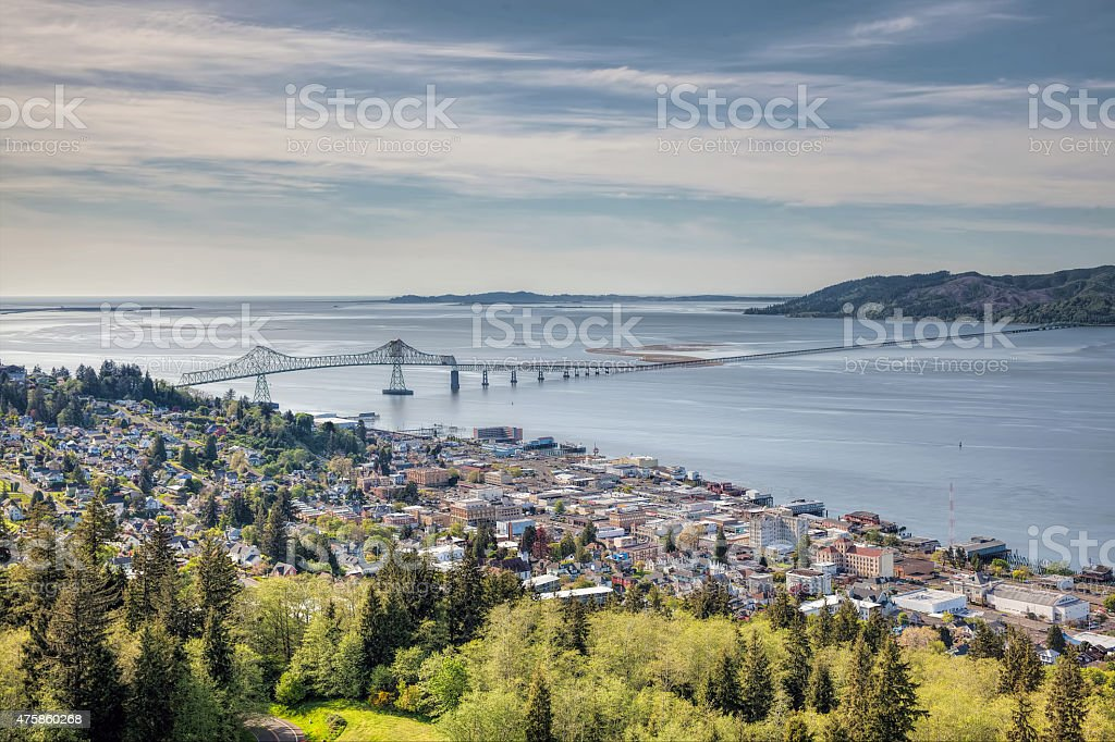 Astoria Cityscape with Astoria-Megler Bridge stock photo