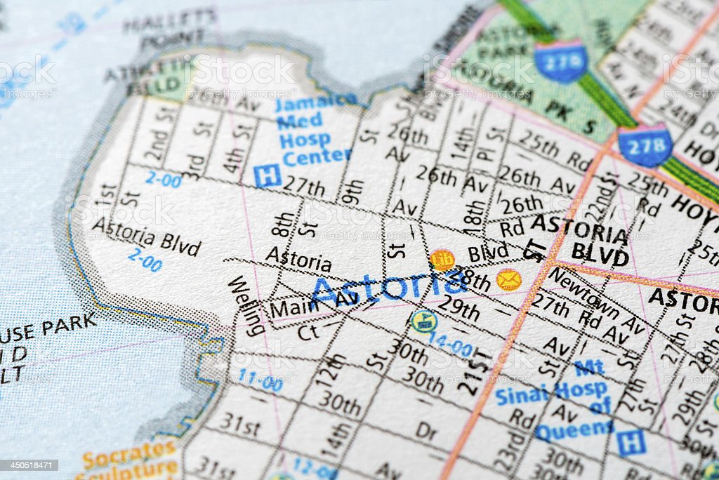 Astoria - New York map detail stock photo