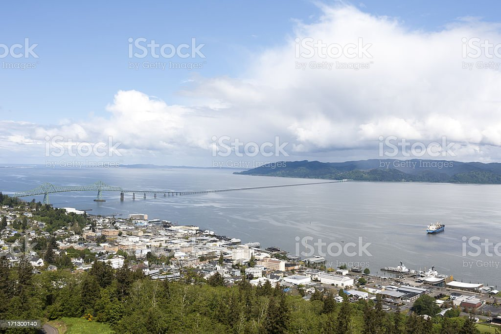 Astoria Oregon and the mouth of Columbia River. stock photo