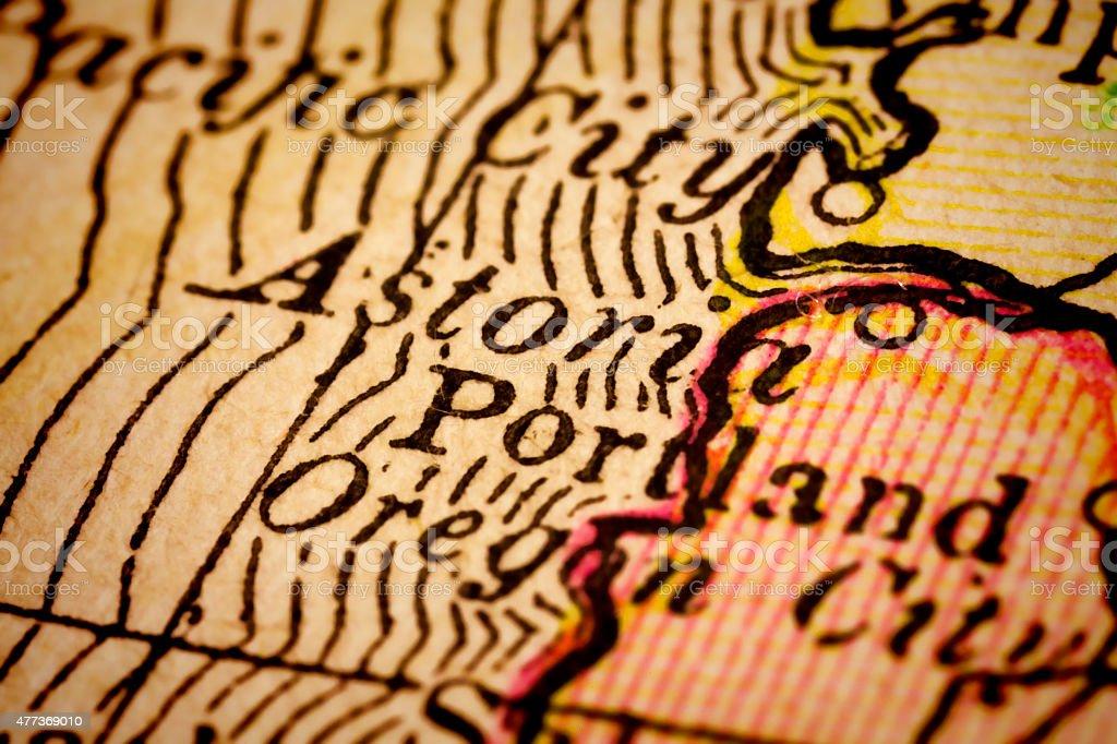 Astoria, Oregon on an Antique map stock photo