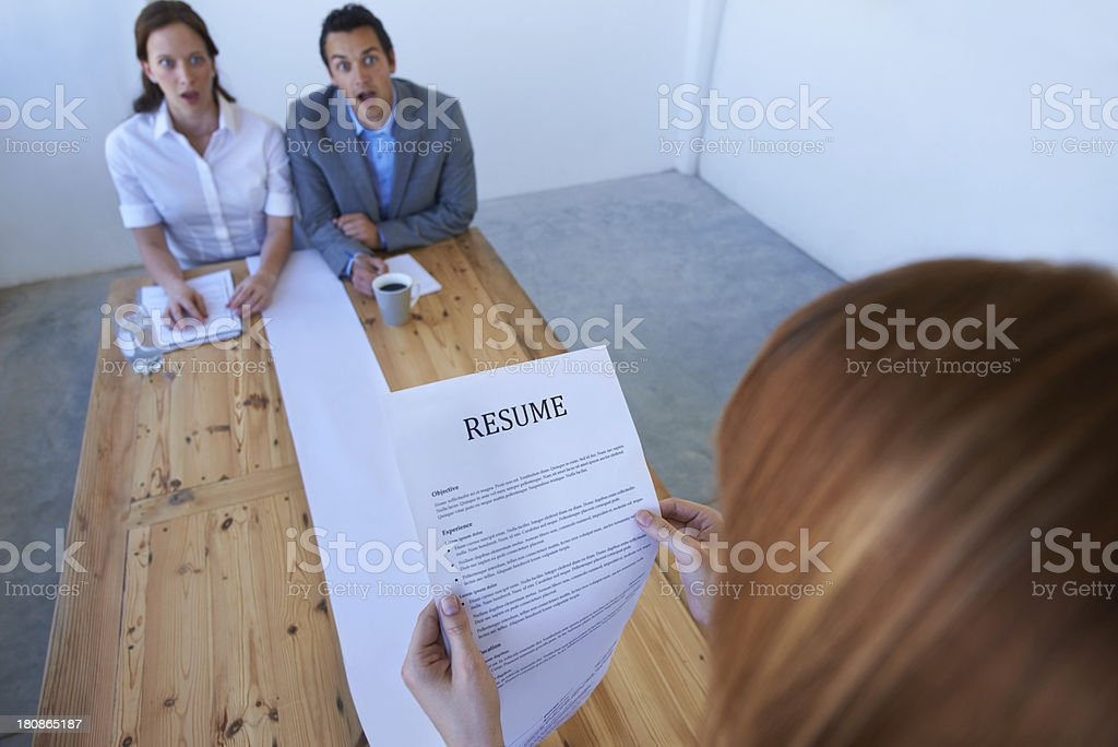 Astounded by her resume! royalty-free stock photo