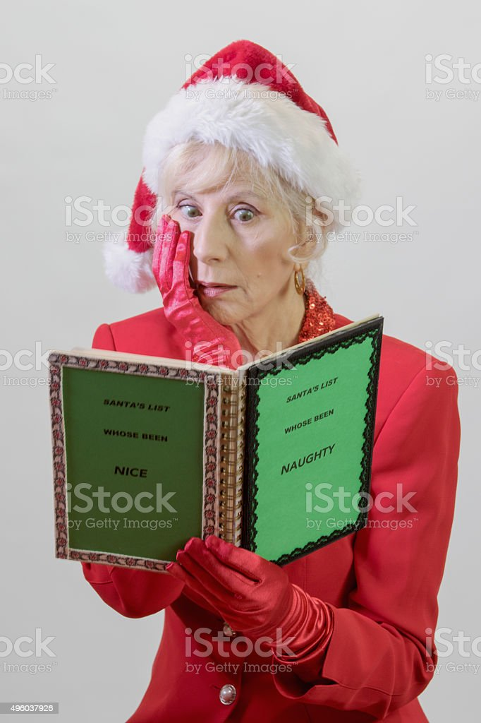 Astounded Santa's Wife stock photo