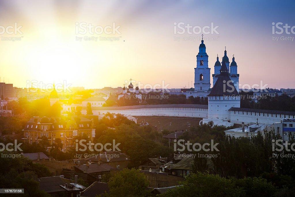 Astrakhan Kremlin at sunrise stock photo
