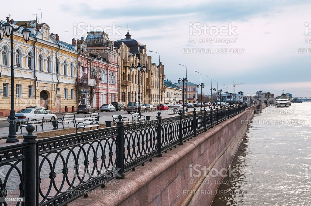 Astrakhan, the city embankment of the Volga River stock photo
