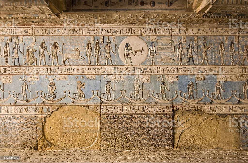 Astrological ceiling, Abydos Temple, Egypt stock photo