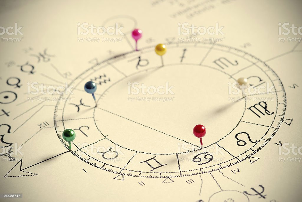 Astrological chart with pushpins stock photo