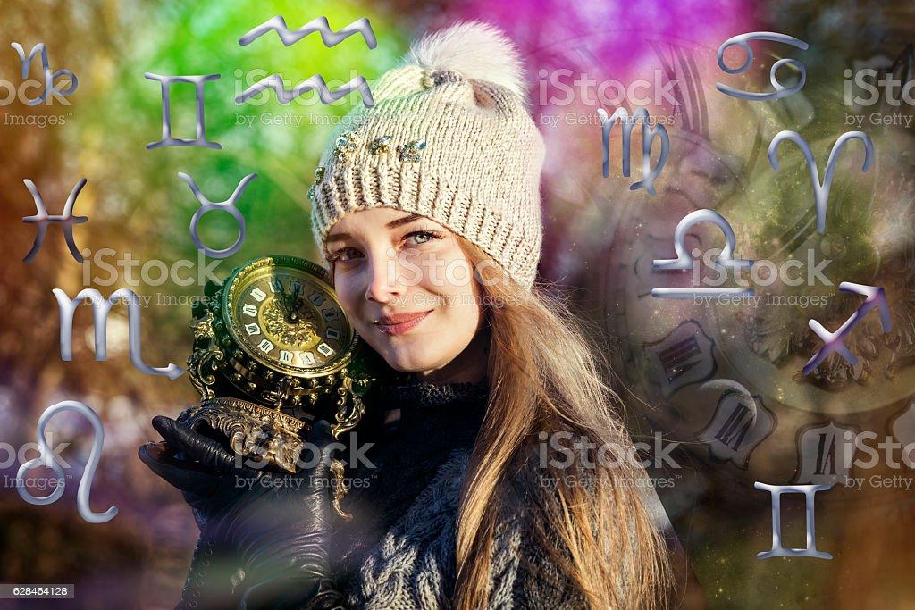 Astrology, twelve zodiac signs stock photo