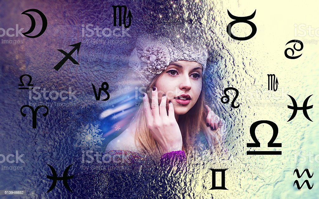 Astrology, twelve zodiac signs, the woman in esoterics stock photo