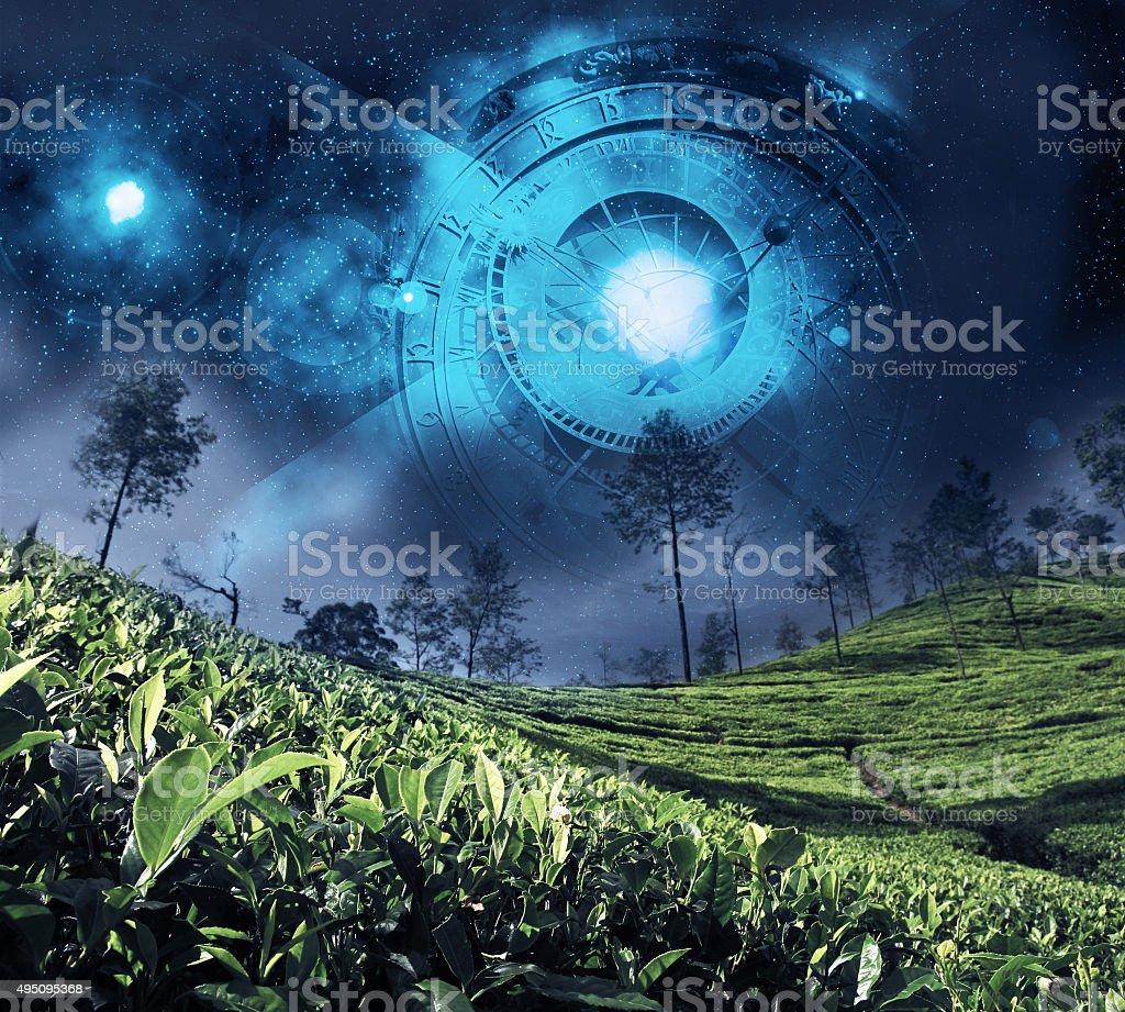 astrology zodiac on the night sky stock photo