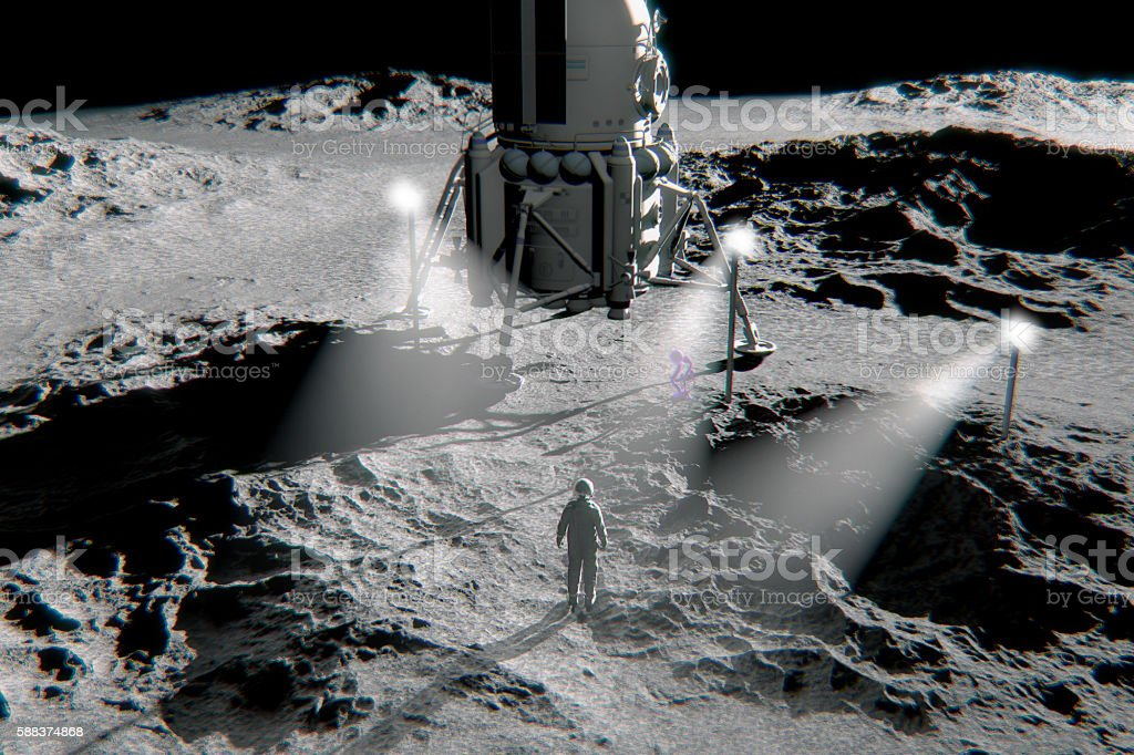 Astronaut and mysterious alien life form stock photo