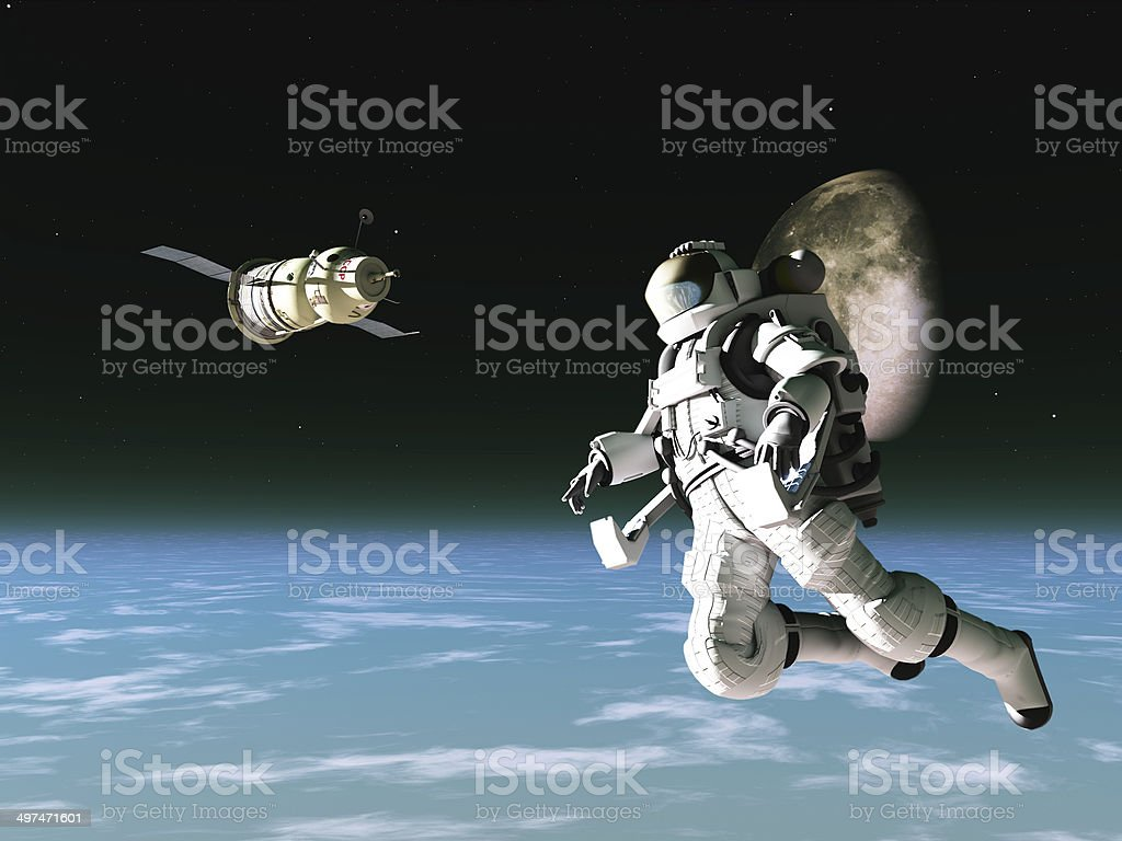 Astronaut and satellite stock photo