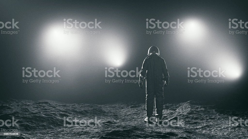 Astronaut and the mysterious lights stock photo