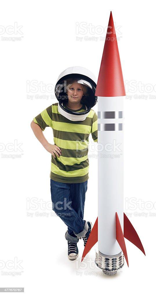 Astronaut Boy Isolated on White stock photo