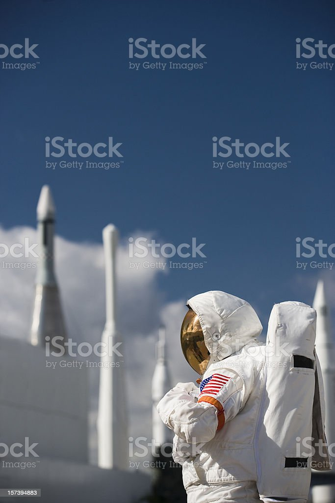 Astronaut by rockets royalty-free stock photo