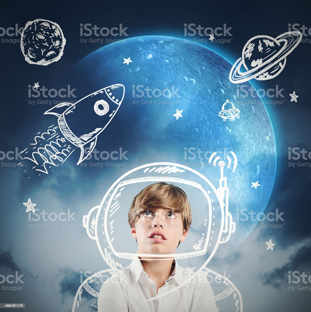Astronaut child stock photo