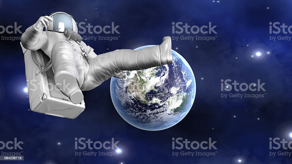 Astronaut floating far from Earth stock photo