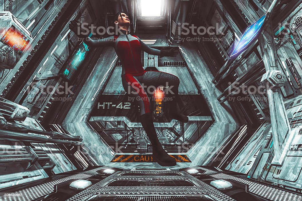 Astronaut floating in zero-gravity, spaceship, travel stock photo