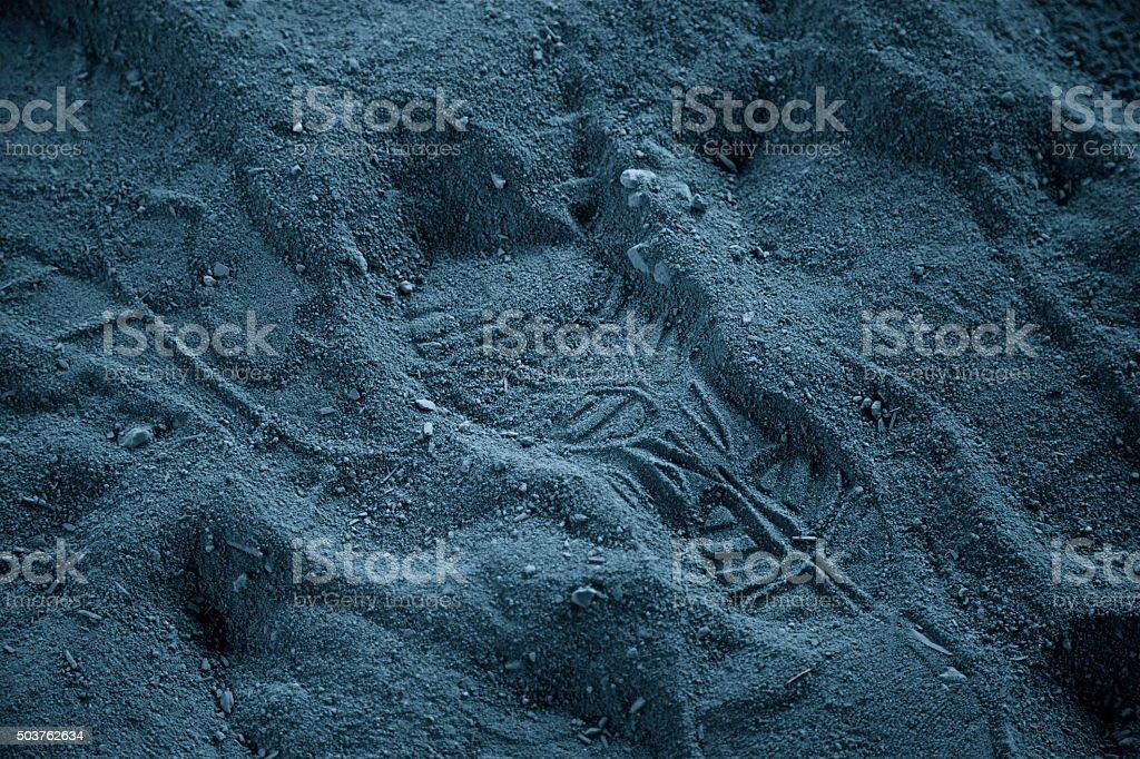 Astronaut footprint man on moon shoe print desert small step stock photo