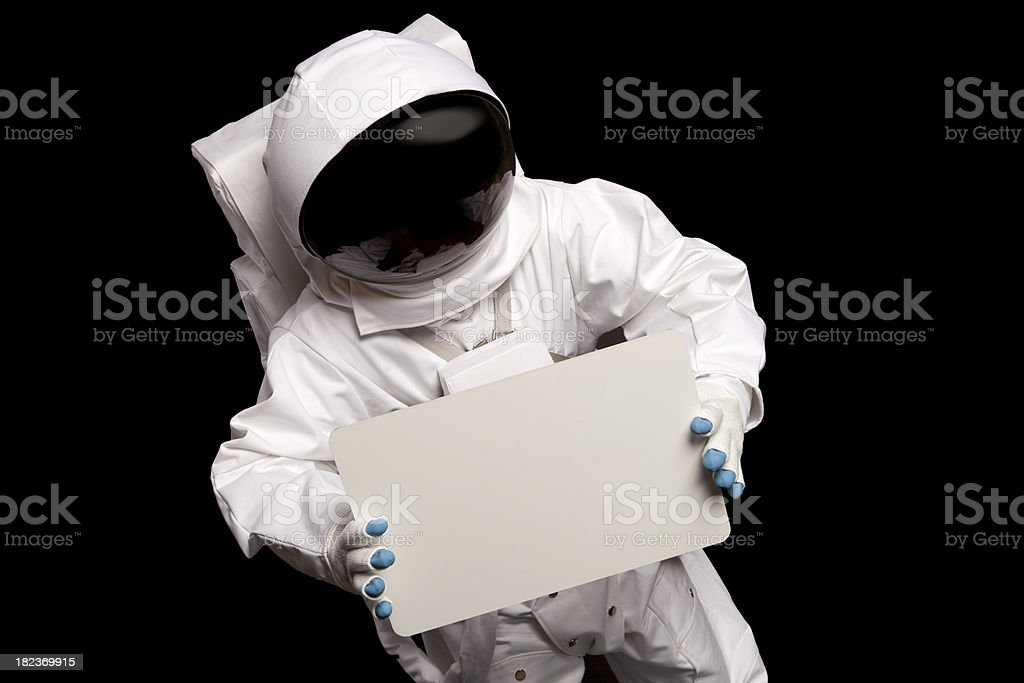 Astronaut Hold A Blank Sign royalty-free stock photo