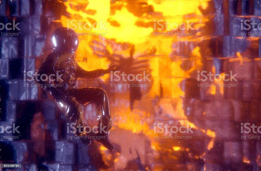 Astronaut in open space and exploding space station stock photo