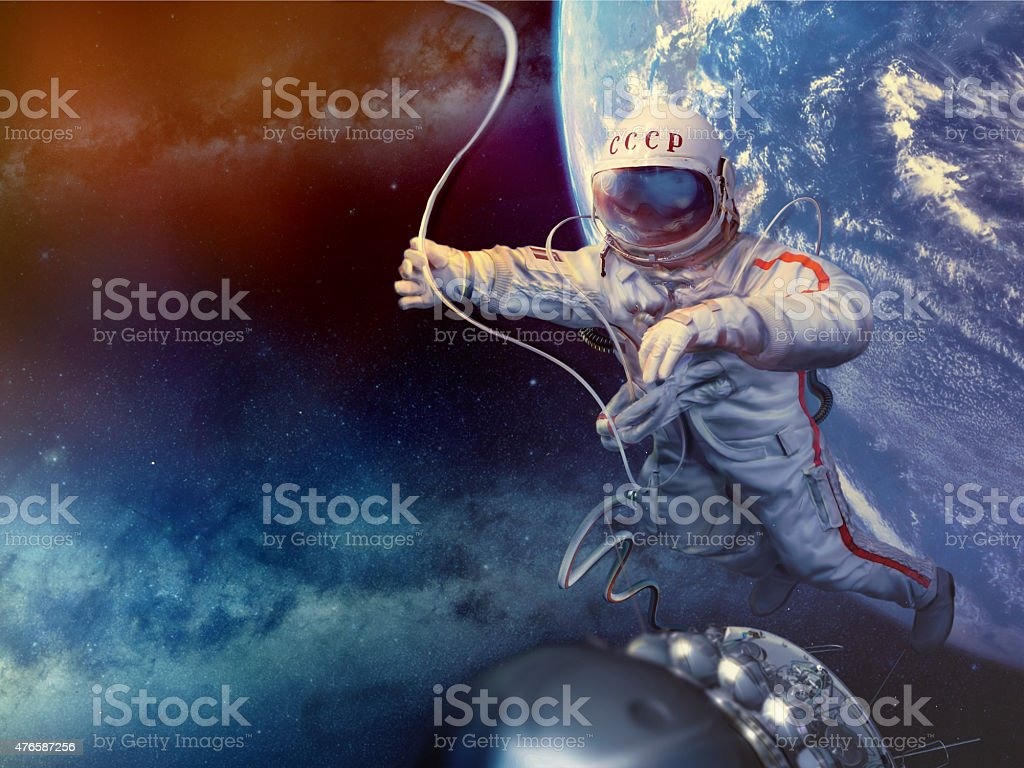 Astronaut in space stock photo