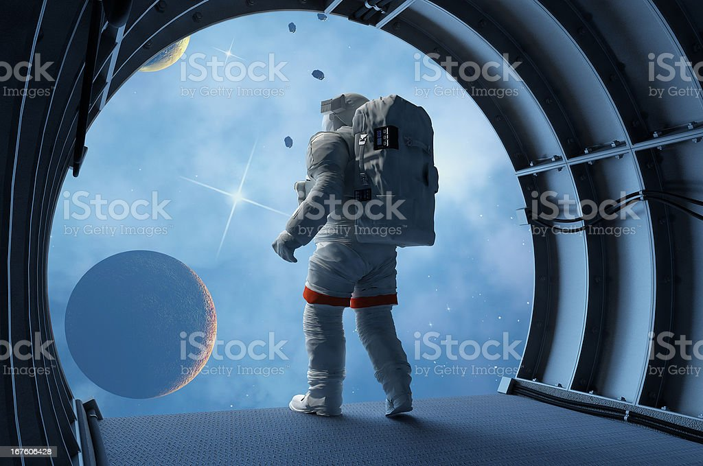 Astronaut in the tunnels royalty-free stock photo