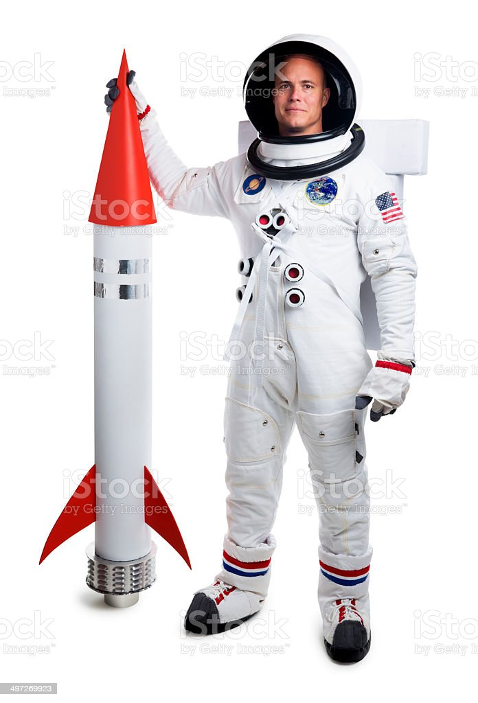 Astronaut Isolated on White Holding a Rocket Ship royalty-free stock photo