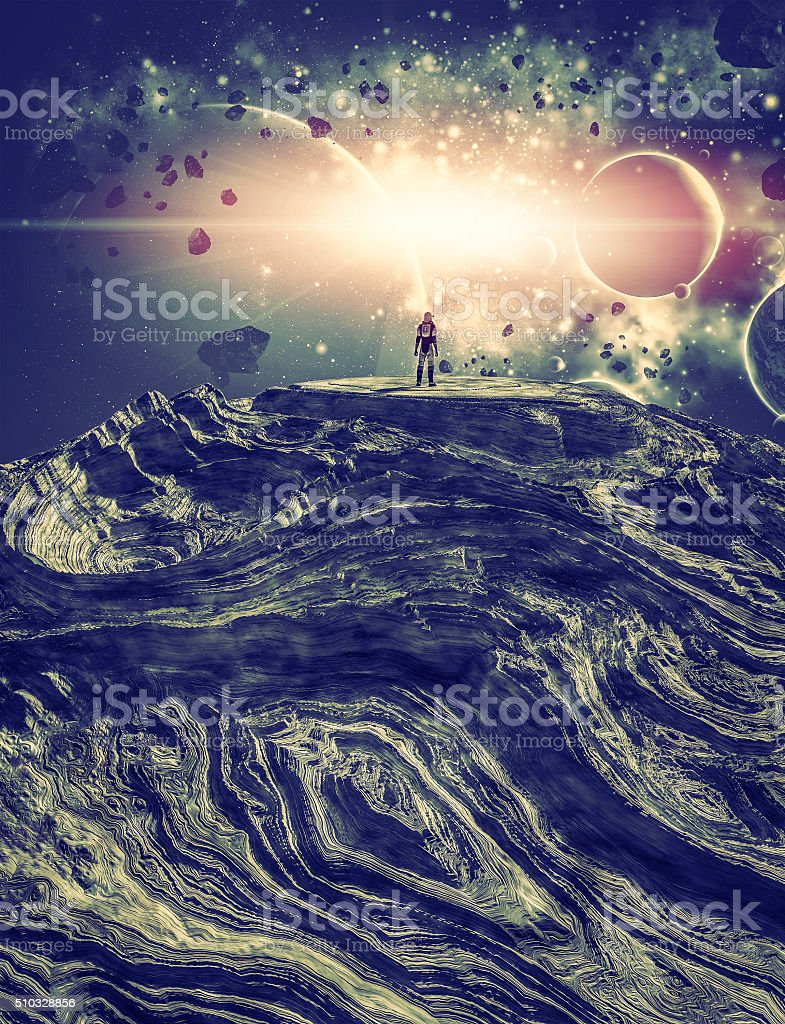 Astronaut on alien planet watching local nebulae cluster stock photo