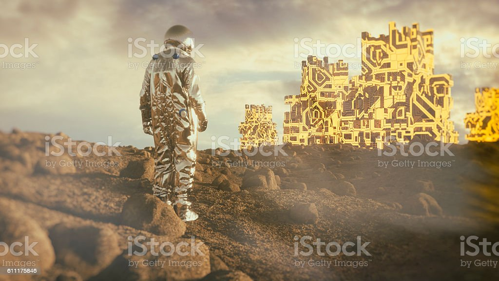 Astronaut on distant planet, discovery, artifact stock photo