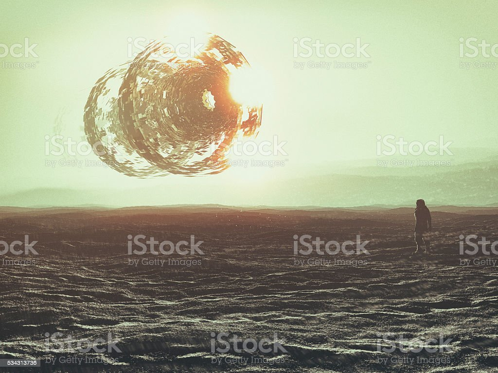 Astronaut on distant planet, UFO, concept stock photo