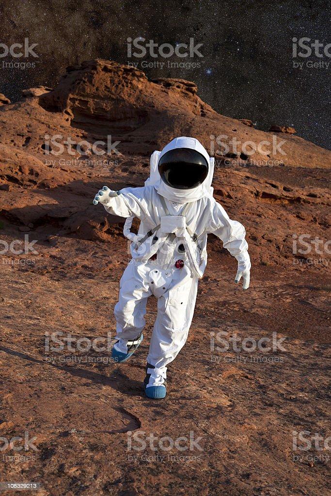 Astronaut on Mars stock photo