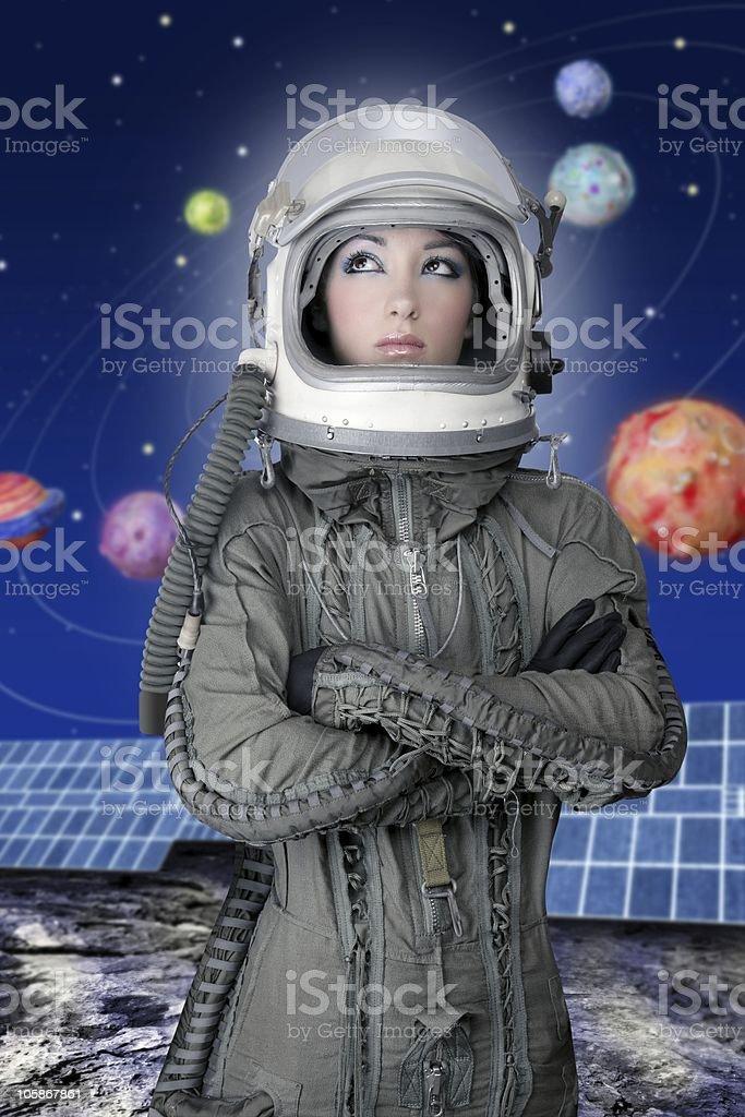 astronaut spaceship aircraft helmet fashion woman royalty-free stock photo