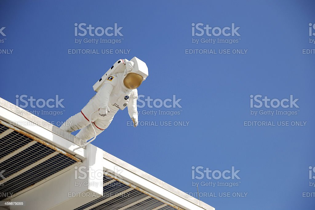 Astronaut statue above the entrance of Kennedy Space Center stock photo