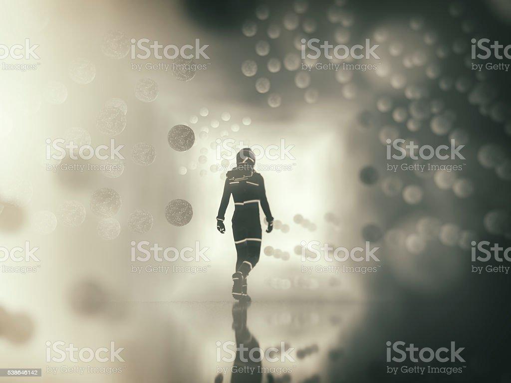 Astronaut walking in alien city stock photo