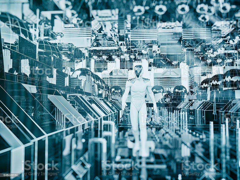 Astronaut walking in futuristic city stock photo