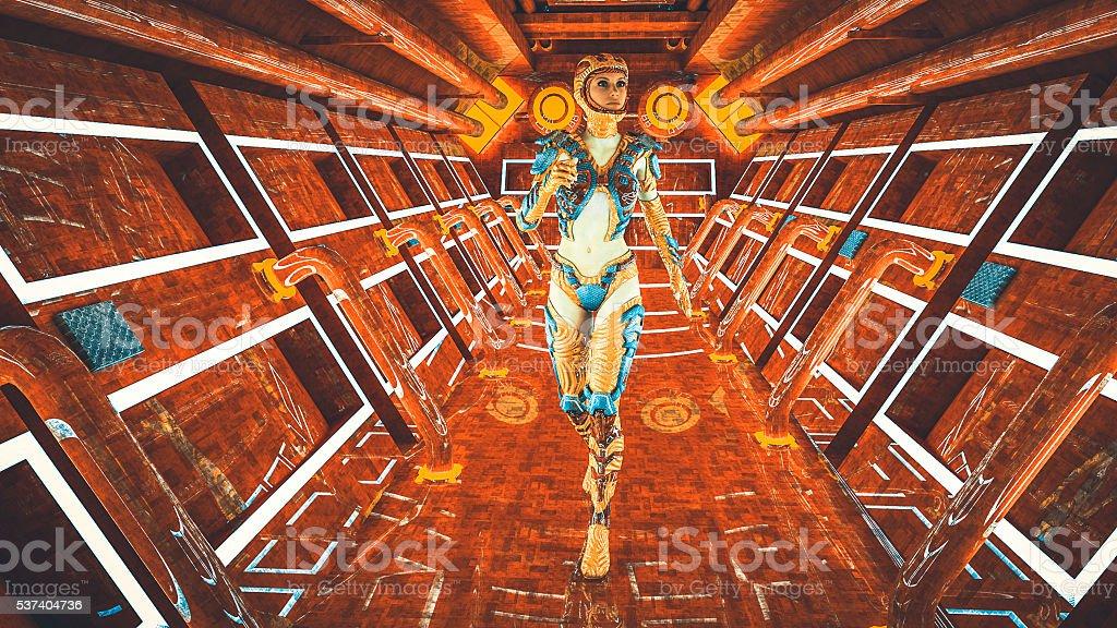 Astronaut walking in the spaceship stock photo