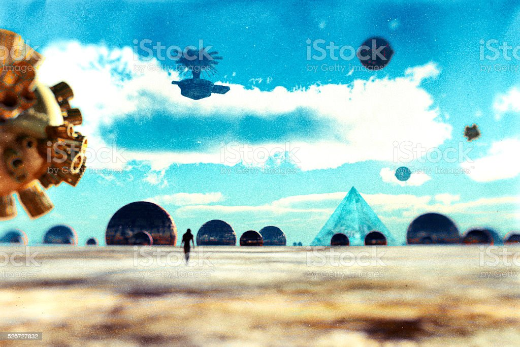 Astronaut walking on distant planet stock photo