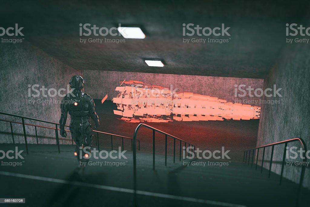 Astronaut walking towards UFO stock photo