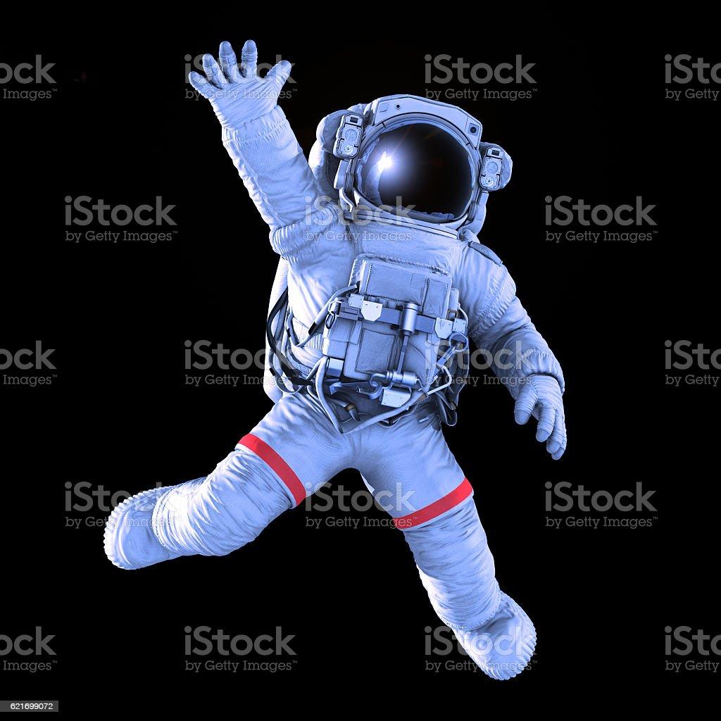 Astronaut waving, 3d render stock photo