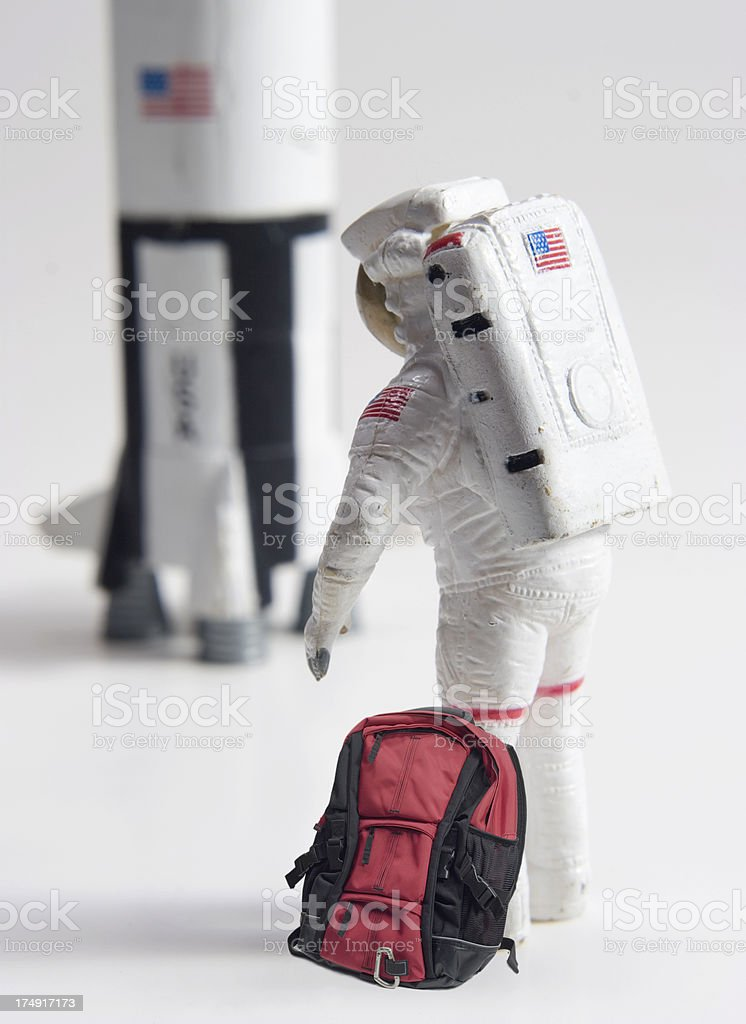 Astronaut with red bag royalty-free stock photo