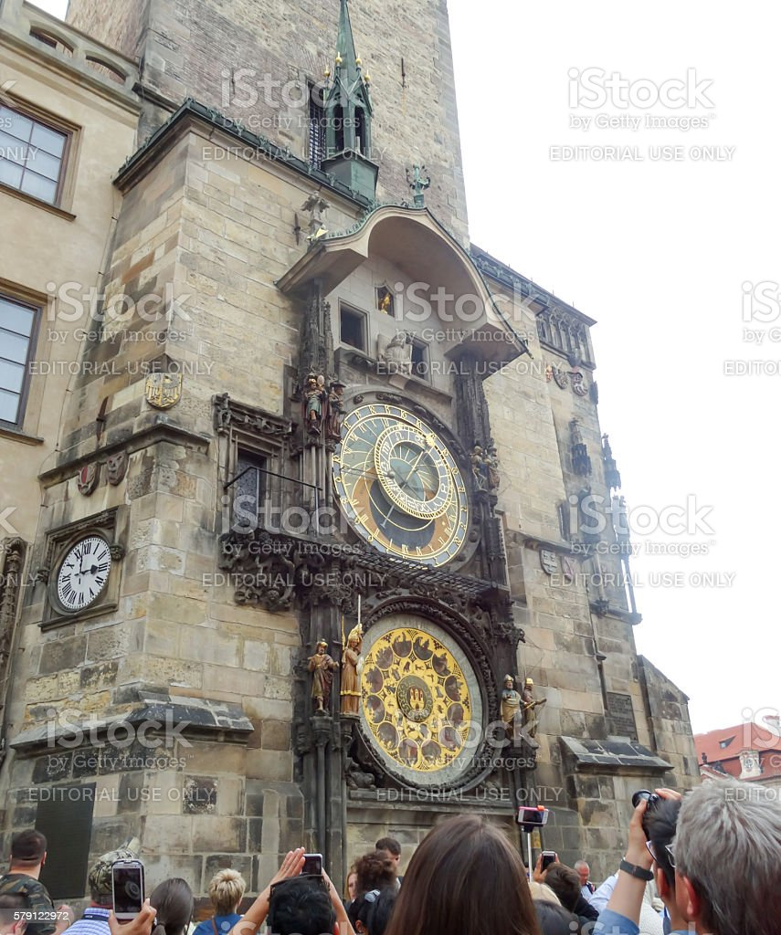 Astronomical clock and tourists stock photo