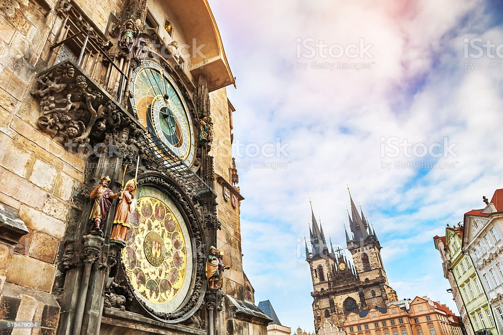Astronomical clock in Old Town Square in Prague stock photo