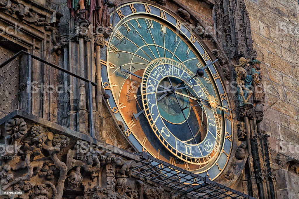 Astronomical clock in Prague stock photo