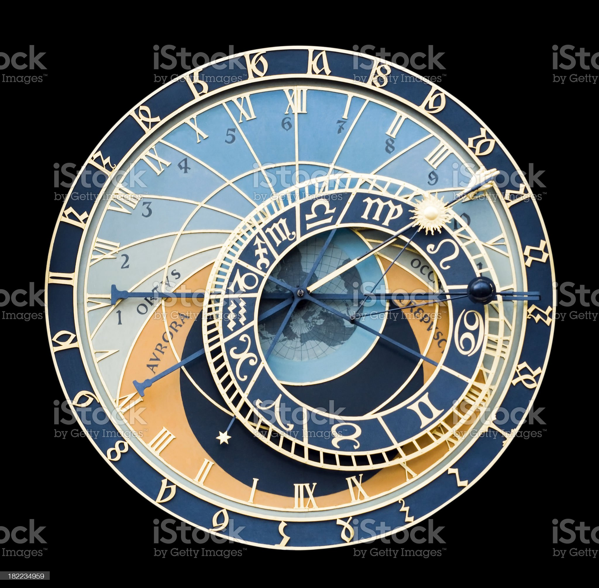 Astronomical Clock isolated on black royalty-free stock photo