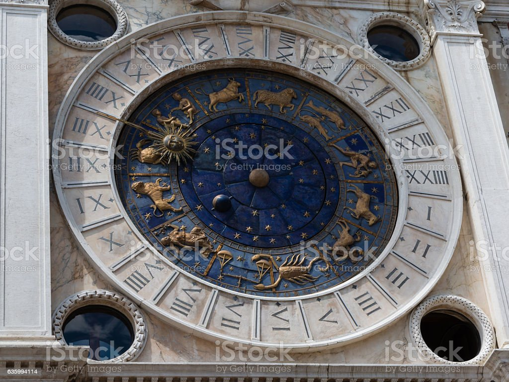 Astronomical Clock Tower St. Mark's Square in Venice - Italy stock photo